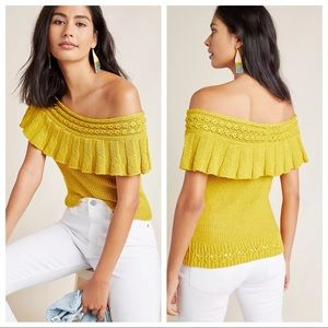Anthropologie Ruffled Off The Shoulder Top Mustard
